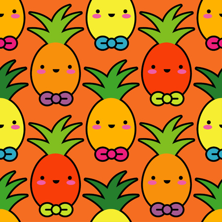 Vector seamless pattern. Kawaii background. Cartoon Pineapple. Textile rapport.