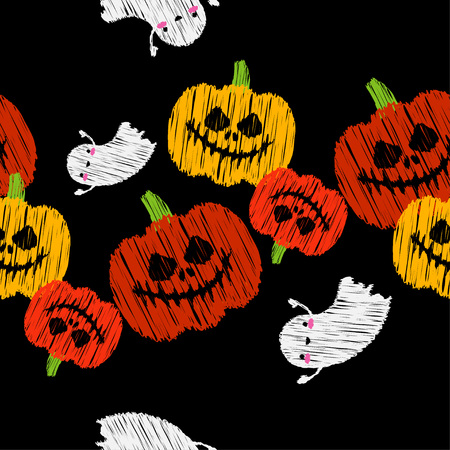 Seamless decorative vector background Happy Halloween. Pumpkins and Ghosts. Brushwork. Hand hatching. Textile rapport.