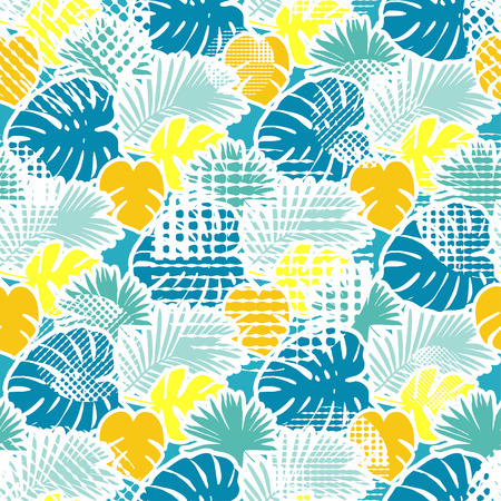 Seamless background with decorative leaves. Tropical palm leaves. Tropical jungle. Points. Can be used for wallpaper, textile, invitation card, wrapping, web page background.