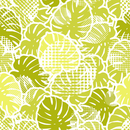 Seamless background with decorative leaves. Tropical palm leaves. Tropical jungle. Points. Can be used for wallpaper, textile, invitation card, wrapping, web page background. Illustration