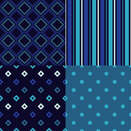 Set of 4 Seamless abstract geometric pattern. Mosaic texture. Can be used for wallpaper, textile, invitation card, wrapping, web page background.