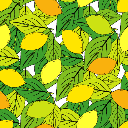 Seamless pattern with decorative lemons. Cute cartoon. Summer garden. Brushwork. Hand hatching. Doodle. Vector illustration. Can be used for wallpaper, textile, wrapping, web page background.
