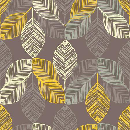 Nahtloser Hintergrund mit dekorativen Blättern. Herbsturlaub. Blumenmosaik. Kann für Tapeten, Textilien, Verpackungen und Webseitenhintergründe verwendet werden.