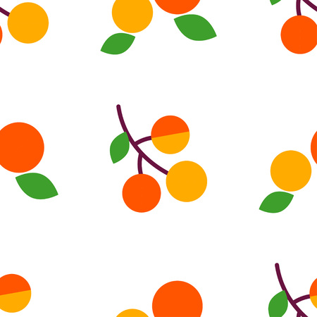 Seamless vector pattern with apricots on white background. Primitive design. Summer garden. Cute cartoon. Can be used for wallpaper, textile, wrapping, web page background. Vetores