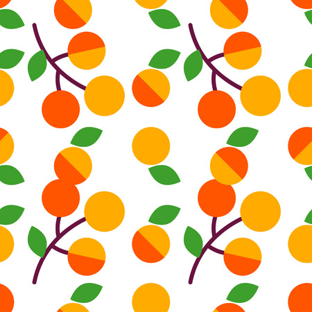 Seamless vector pattern with apricots on white background. Primitive design. Summer garden. Cute cartoon. Can be used for wallpaper, textile, wrapping, web page background.  イラスト・ベクター素材