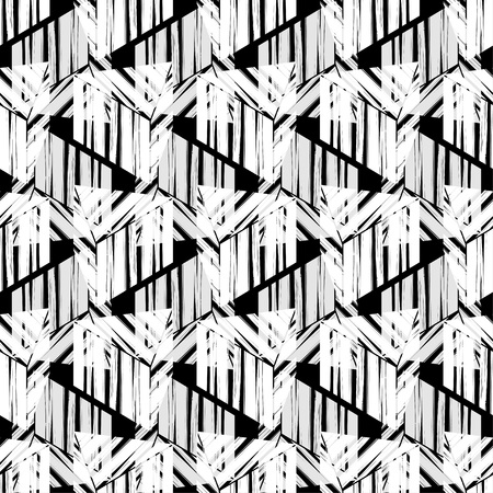 Seamless abstract geometric pattern. 3D cubes. Brushwork. Hand hatching. Scribble texture. Mosaic texture. Can be used for wallpaper, textile, wrapping, web page background.