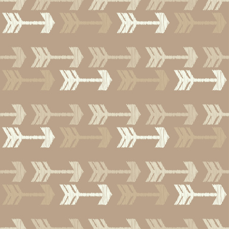 Seamless pattern in decorative arrow. Vector pattern. Mosaic texture. Brushwork. Hand hatching. Scribble texture. Can be used for wallpaper, textile, wrapping, web page background.
