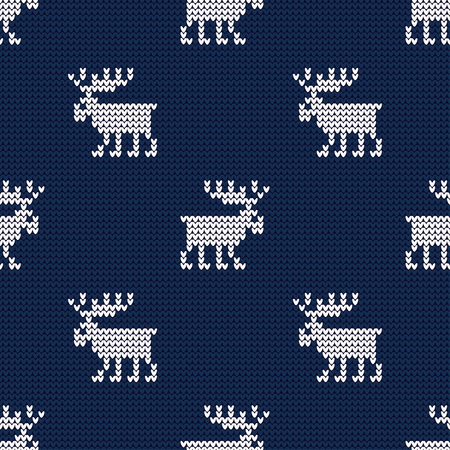 A knitted sweater with Reindeer. Seamless vector background. Christmas pattern. Can be used for wallpaper, textile, wrapping, web page background.