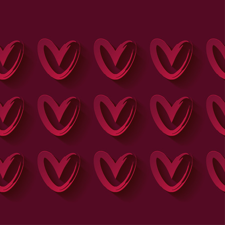 Seamless pattern with decorative red 3D hearts. Red hearts on a red background. Valentine's day. Vector illustration. Can be used for wallpaper, textile, wrapping, web page background.
