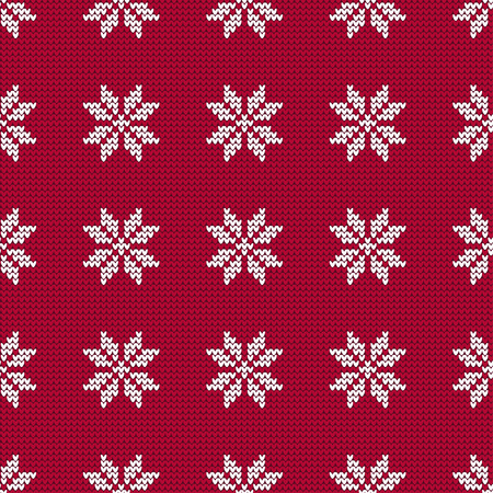 Knitted Norwegian snowflakes. Seamless vector background. Folk motives. Winter pattern. Can be used for wallpaper, textile, wrapping, web page background.