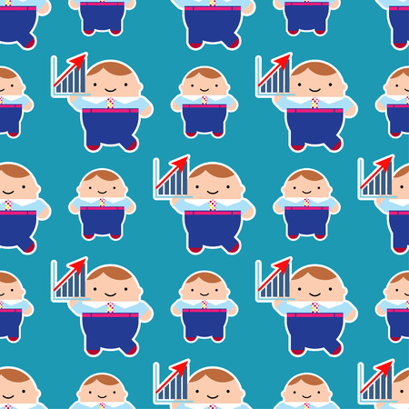 Seamless vector background. Managers in style kawaii. Cute cartoon. Can be used for wallpaper, textile, wrapping, web page background.