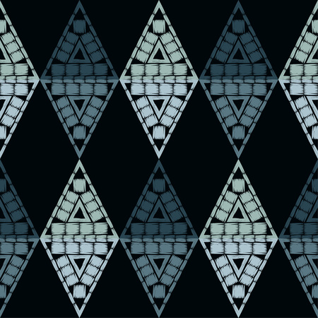 Ethnic boho seamless pattern. Embroidery on fabric. Traditional ornament. Tribal pattern. Folk motif. Can be used for wallpaper, textile, wrapping, web page background.