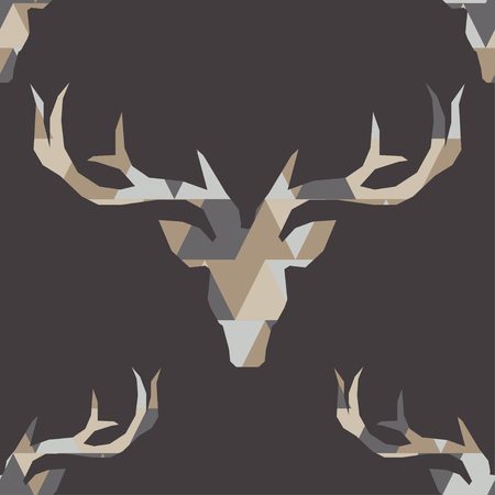 Polygonal vector deer head. Seamless background. Graphic element for design. Can be used for wallpaper, textile, wrapping, web page background.