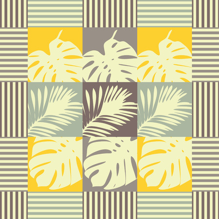 Seamless background with decorative leaves. Tropical palm leaves. Geometric background. Can be used for wallpaper, textile, wrapping, web page background.