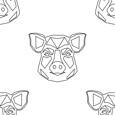 Polygonal head of a Pig. Symbol of year. Seamless background. Graphic element for design. Can be used for wallpaper, textile, wrapping, web page background.