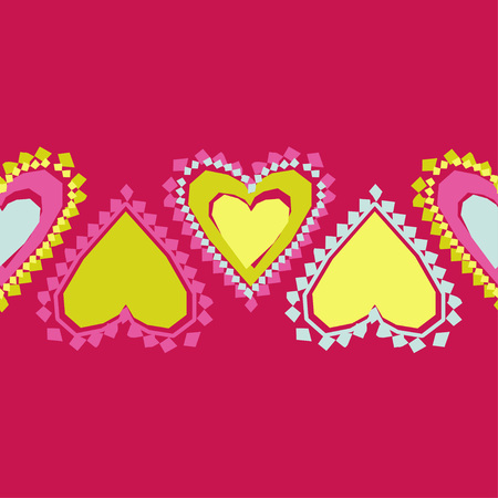 Seamless pattern with decorative hearts. Valentine's day. Vector illustration. Can be used for wallpaper, textile, wrapping, web page background.