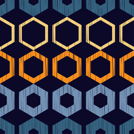 The pattern of colored hexagons with a dashed texture. Trendy seamless pattern designs. Vector geometric background. Mosaic texture. Can be used for wallpaper, textile, wrapping, web page background. Çizim
