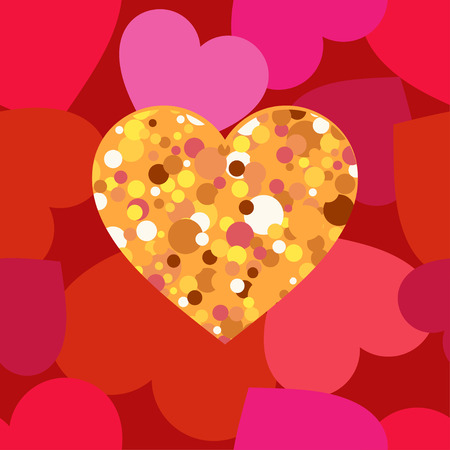 Gold hearts on a red background. Seamless pattern. Valentine's day. Vector illustration. Can be used for wallpaper, textile, wrapping, web page background.
