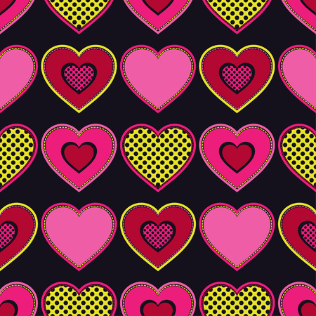 Decorative hearts of pieces with stroke. Seamless pattern. Valentine's day. Vector illustration. Can be used for wallpaper, textile, wrapping, web page background.