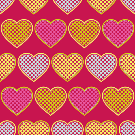 Decorative hearts of pieces with stroke. Seamless pattern. Valentine's day. Vector illustration. Can be used for wallpaper, textile, wrapping, web page background. Vektoros illusztráció