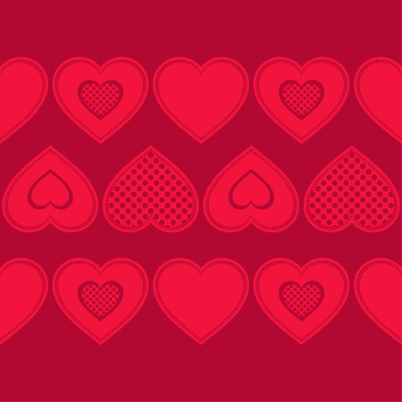 Decorative hearts of pieces with stroke. Seamless pattern. Valentines day. Vector illustration. Can be used for wallpaper, textile, wrapping, web page background. Illustration