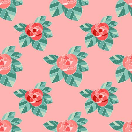 Seamless pattern with pink roses on pink background. Valentines day. Vector illustration. Can be used for wallpaper, textile, wallpaper, web page background.