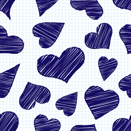 Seamless pattern with decorative painted hearts. Valentine's day. Vector illustration. Invitation card, web page background.