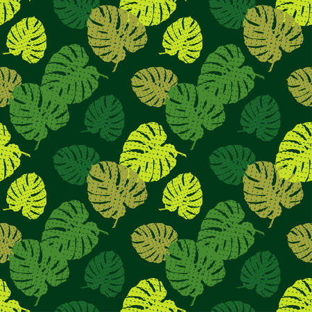 Seamless background with decorative Tropical palm leaves. Monstera. Texture with dots. Can be used for wallpaper, textile, wrapping, web page background.
