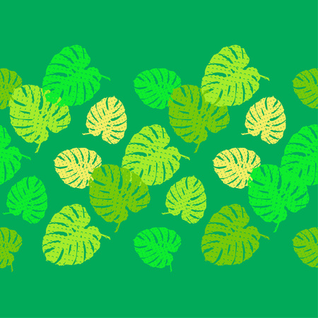 Seamless background with decorative Tropical palm leaves. Monstera. Texture with dots. Can be used for wallpaper, textile, wrapping, web page background. 向量圖像
