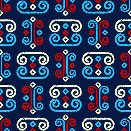 Ethnic boho seamless pattern. A mosaic of stripes and squiggles. Embroidery on fabric. Traditional ornament. Tribal pattern. Folk motif. Can be used for wallpaper, textile, wrapping, web page background. Vettoriali