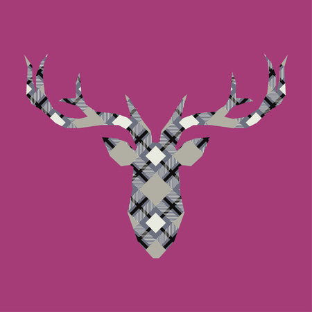 Deer head with plaid texture. Tartan. Scottish, English fabric. Vector illustration. Can be used for wallpaper, textile, wrapping, web page background.