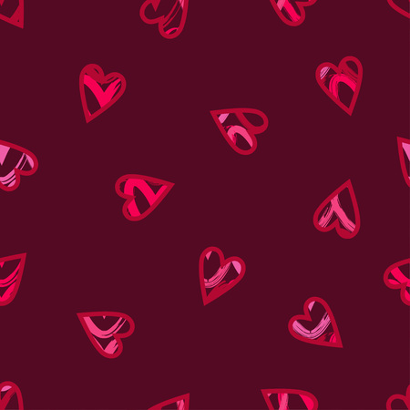 Red hearts drawn with a red outline. Valentine's day. Vector illustration. Can be used for wallpaper, textile, wallpaper, web page background.