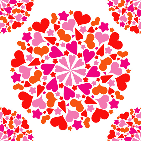 Seamless pattern with decorative hearts and stars. Mandala. Sacred image. Valentines day. Vector illustration. Can be used for wallpaper, textile, wallpaper, web page background.