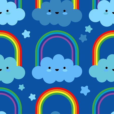 Seamless background with funny clouds. Kawaii. Cute cartoon. Vector illustration. Can be used for wallpaper, textile, wrapping, web page background.