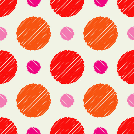 Polka dot seamless pattern. Mosaic of circles with hatching texture. Geometric background. Can be used for wallpaper, textile, wallpaper, web page background.
