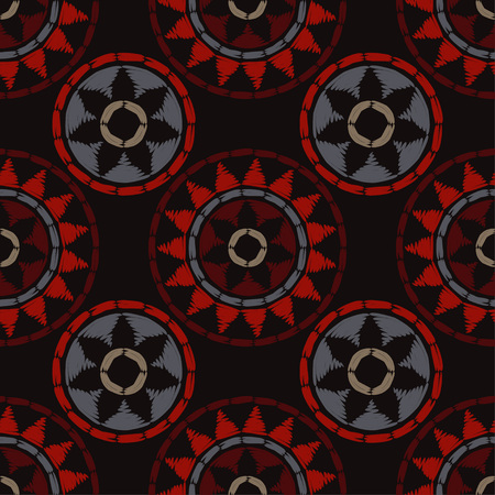 Polka dot seamless pattern. Mosaic of ethnic figures. Geometric background. Can be used for wallpaper, textile, wallpaper, web page background.