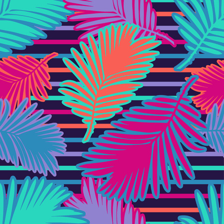 Seamless background with decorative Tropical palm leaves. Monstera. Vector illustration. Can be used for wallpaper, textile, wrapping, web page background.