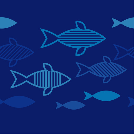 Seamless pattern with fishes in the sea. Cute cartoon. Doodle. Can be used for wallpaper, textile, wrapping, web page background. Vetores