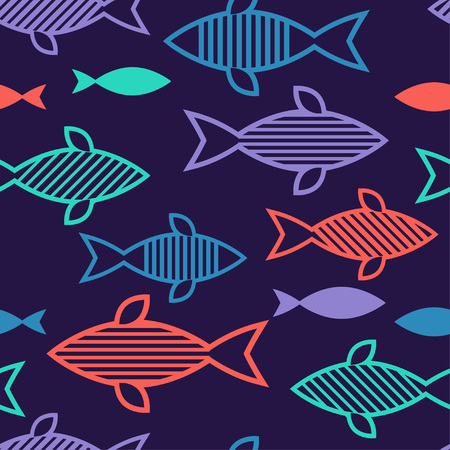Seamless pattern with fishes in the sea. Cute cartoon. Doodle. Can be used for wallpaper, textile, wrapping, web page background.