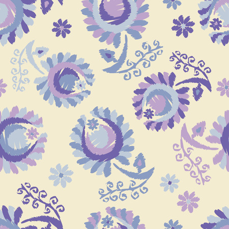 Seamless pattern with decorative flowers with leaves. Folk motif. Summer day. Can be used for wallpaper, textile, wrapping, web page background.