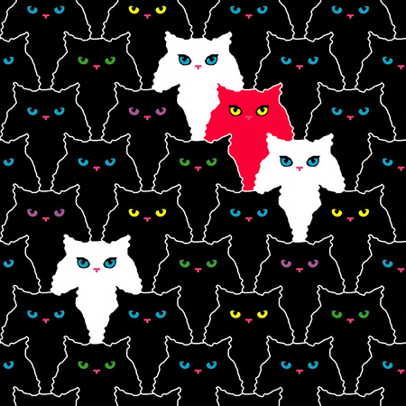 Seamless pattern with decorative Cats. Funny lovely Cats. Brushwork. Hand hatching. Doodle. Can be used for wallpaper, textile, wrapping, web page background.