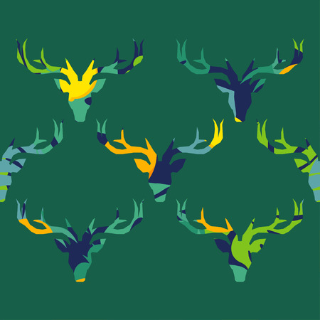 Seamless vector pattern. Deer silhouette with tropical fruits and leaves. Graphic element for design. Can be used for wallpaper, textile, wrapping, web page background.