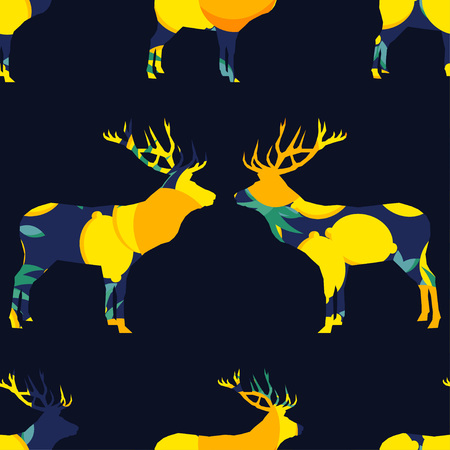 Seamless vector pattern. Deer silhouette with tropical fruits and leaves. Graphic element for design. Can be used for wallpaper, textile, wrapping, web page background. Banque d'images - 119845476