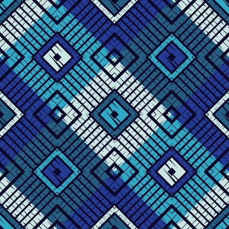 Trendy seamless pattern designs. Mosaic of quadrangles with the old texture. Vector geometric background. Can be used for wallpaper, textile, wrapping, web page background. Illustration