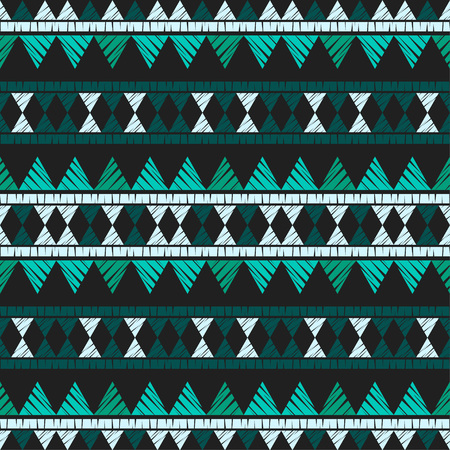 Ethnic boho seamless pattern. Embroidery on fabric. Patchwork texture. Weaving. Traditional ornament. Tribal pattern. Folk motif. Can be used for wallpaper, textile, wrapping, web page background.