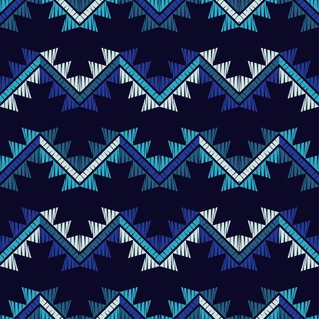 Patrón sin costuras étnico boho. Zigzag. Bordado sobre tela. Textura de patchwork. Costura. Adorno tradicional. Patrón tribal. Motivo popular. Se puede utilizar para papel tapiz, textil, envoltura, fondo de página web. Ilustración de vector