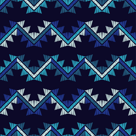 Ethnic boho seamless pattern. Zigzag. Embroidery on fabric. Patchwork texture. Weaving. Traditional ornament. Tribal pattern. Folk motif. Can be used for wallpaper, textile, wrapping, web page background. Illustration