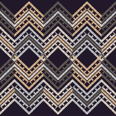 Ethnic boho seamless pattern. Zigzag. Embroidery on fabric. Patchwork texture. Weaving. Traditional ornament. Tribal pattern. Folk motif. Can be used for wallpaper, textile, wrapping, web page background. Ilustrace