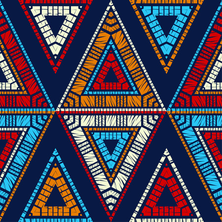 Ethnic boho seamless pattern. Triangles. Embroidery on fabric. Patchwork texture. Weaving. Traditional ornament. Tribal pattern. Folk motif. Can be used for wallpaper, textile, wrapping, web page background. Ilustrace