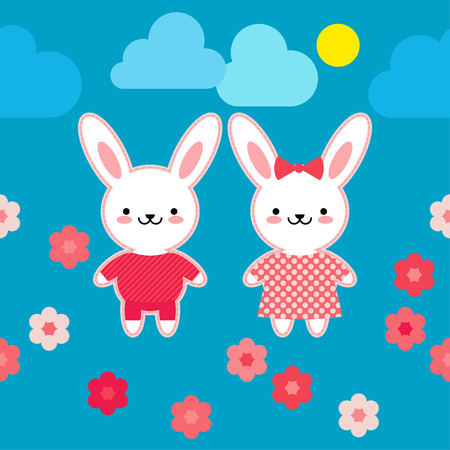 Seamless pattern. Hares in pink clothes on a blue background with flowers. Kawaii. Pink seam. Vector illustration. Can be used for wallpaper, textile, wrapping, web page background. Illustration